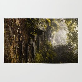 Hiking in the mist  Rug