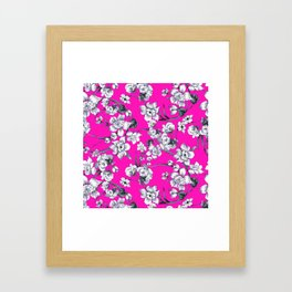Modern neon pink black white abstract floral Framed Art Print