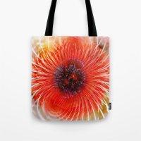 poppy Tote Bags featuring Poppy by Klara Acel