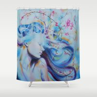 magnolia Shower Curtains featuring Magnolia by Maria Lozano - Art