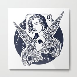 Queen playing card Metal Print