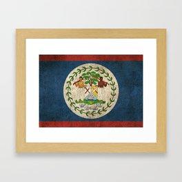 Old and Worn Distressed Vintage Flag of Belize Framed Art Print