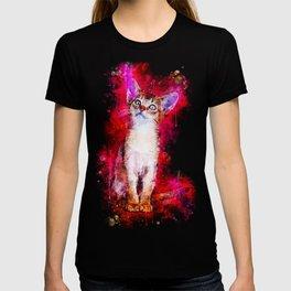 abyssinian cat kitten splatter watercolor T-shirt