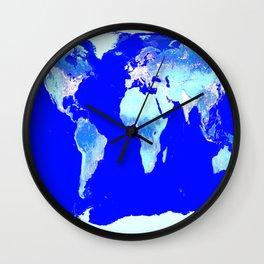 world MAP Blue Turquoise Aqua Wall Clock
