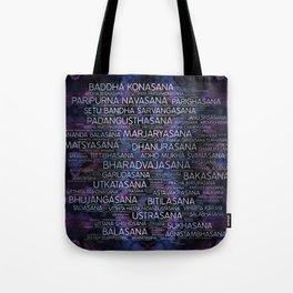 Yoga Asanas / Poses Sanskrit Word Art  Pearl on amethyst Tote Bag