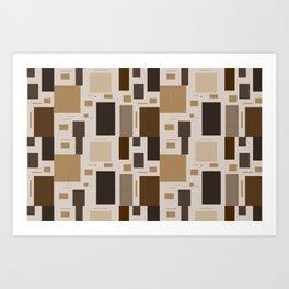 Shades Of Brown Squares Art Print