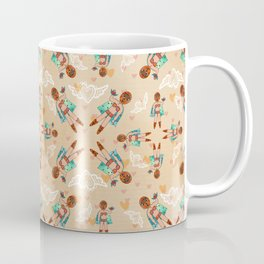 """Neutral Wrestler Doll """"I'm a Fighter at Heart"""" Pattern Coffee Mug"""