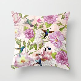 Vintage Roses and Hummingbird Pattern Throw Pillow