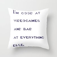 gamer Throw Pillows featuring Gamer by Vi91