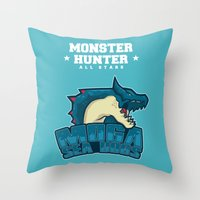 monster hunter Throw Pillows featuring Monster Hunter All Stars - Moga Sea Dogs by Bleached ink