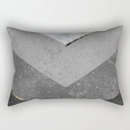 Marble Gray Copper Black Gold Chevron Rectangular Pillow