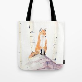 Fox and Birch Trees Tote Bag