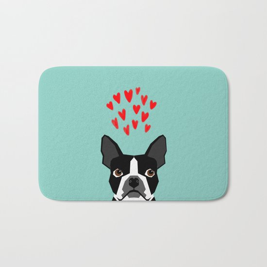 Boston Terrier - Hearts, Cute Funny Dog Cute Valentines Dog, Pet, Cute, Animal, Dog Love,  Bath Mat