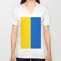 ukraine V-neck T-shirts featuring Flag Of Ukraine by Neville Hawkins