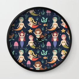 Hand drawn navy blue teal yellow mermaids illustration Wall Clock