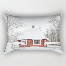 Red Cabin In The Snow Photo | Norway Winter Holiday Season Scenery Art Print | Travel Photography Rectangular Pillow