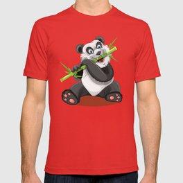 Happy panda bear eating bamboo T-shirt