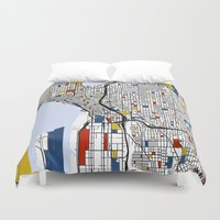 seattle Duvet Covers featuring Seattle by Mondrian Maps