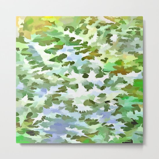 Foliage Abstract Pop Art In White Green and Powder Blue Metal Print