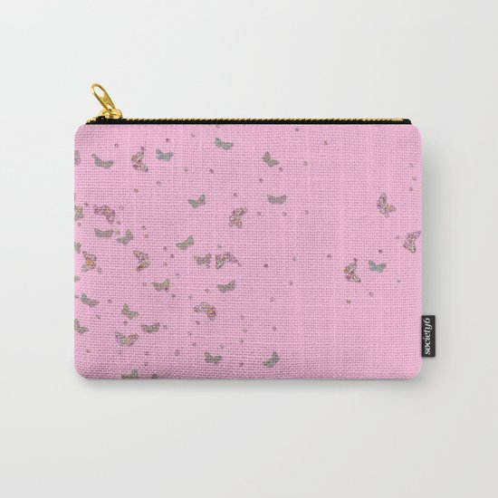 Animal - Animals Butterflies Butterfly diamonds and glitter effect on pink Carry-All Pouch