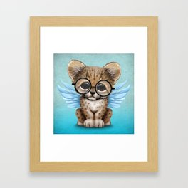 Cheetah Cub with Fairy Wings Wearing Glasses on Blue Framed Art Print