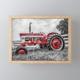 IH 240 Side View Selective Red Farmall Tractor Framed Mini Art Print