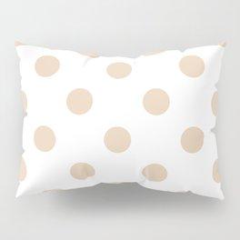 Polka Dots - Pastel Brown on White Pillow Sham