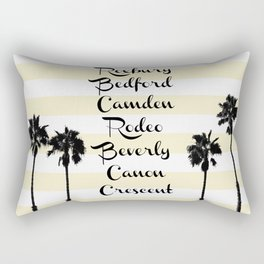 Beverly Hills Street Names Palm Trees Yellow Stripes Rectangular Pillow