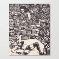 wrestling Canvas Prints featuring Wrestling by David Jablow
