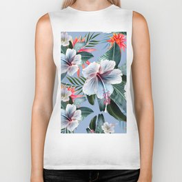 Hawaii, tropical hibiscus vintage style blue dream palm leaves Biker Tank