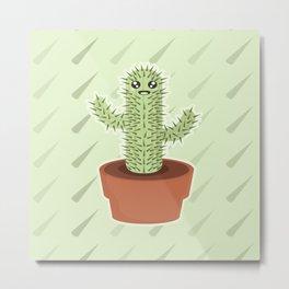 Kawaii Cactus Metal Print