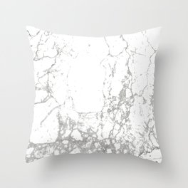 Gray white abstract modern marble pattern Throw Pillow