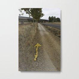 Yellow Arrow Waymarker Camino de Santiago de Compostela  Metal Print