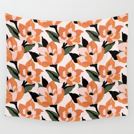 Bold orange poppy on a soft pink base Wall Tapestry