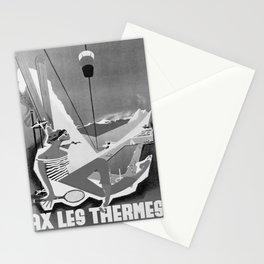 retro monochrome Ax Les Thermes retro poster Stationery Cards