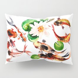 Koi Fish in Pond, Feng Shui Pillow Sham