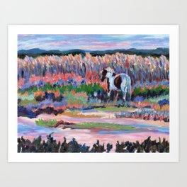 Chincoteague Pony, a colorful landscape of a wild horse in the dunes on the beach in Virginia. Art Print