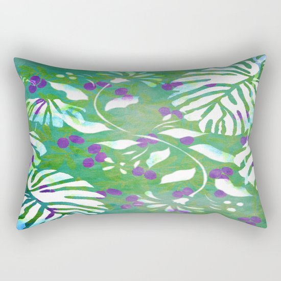 Tropical Flowers and Leaves Abstract  Rectangular Pillow