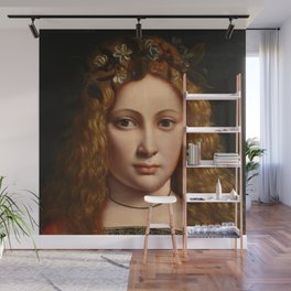 "Giovanni Antonio Boltraffio ""Youth crowned with flowers"" Wall Mural"