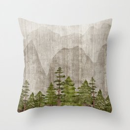 Mountain Range Woodland Forest Throw Pillow