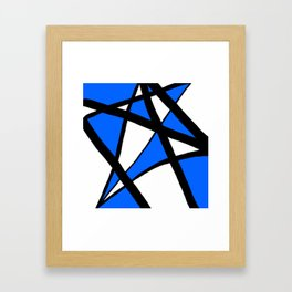 China Blue Geometric Triangle Abstract Framed Art Print