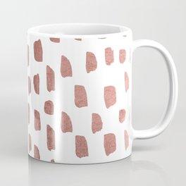 Trendy white faux rose gold brushstrokes pattern Coffee Mug