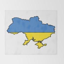 Ukraine Map with Ukrainian Flag Throw Blanket