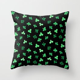 Clover Leaves Pattern on Black Throw Pillow