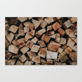 Chopped Firewood Stack Canvas Print