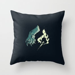 cat paw playing with fire Throw Pillow