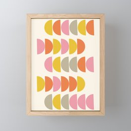 Cute Geometric Shapes Pattern in Pink Orange and Yellow Framed Mini Art Print
