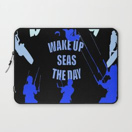 Wake Up Seas The Day Kiteboarder Royal Blue Laptop Sleeve