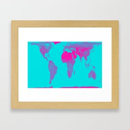 World Map : Gall Peters Turquoise & Pink Framed Art Print