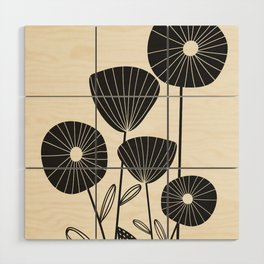 Abstract Flowers Wood Wall Art